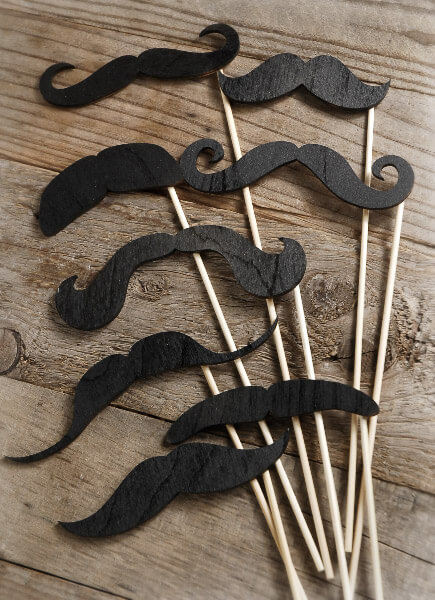 Wood Mustache Photo Props Set of Eight