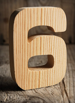 Number 6 Wood Sign 4in