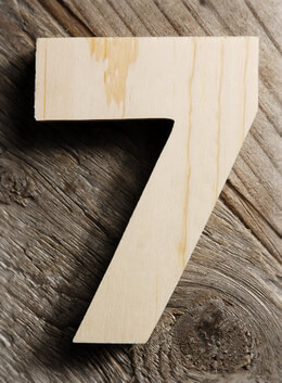 Number 7 Wood Sign 4in