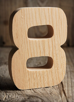 Number 8 Wood Sign 4in