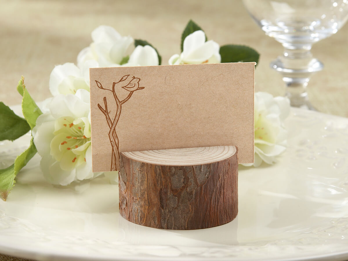 4 Wood Place Card Holders with Cards