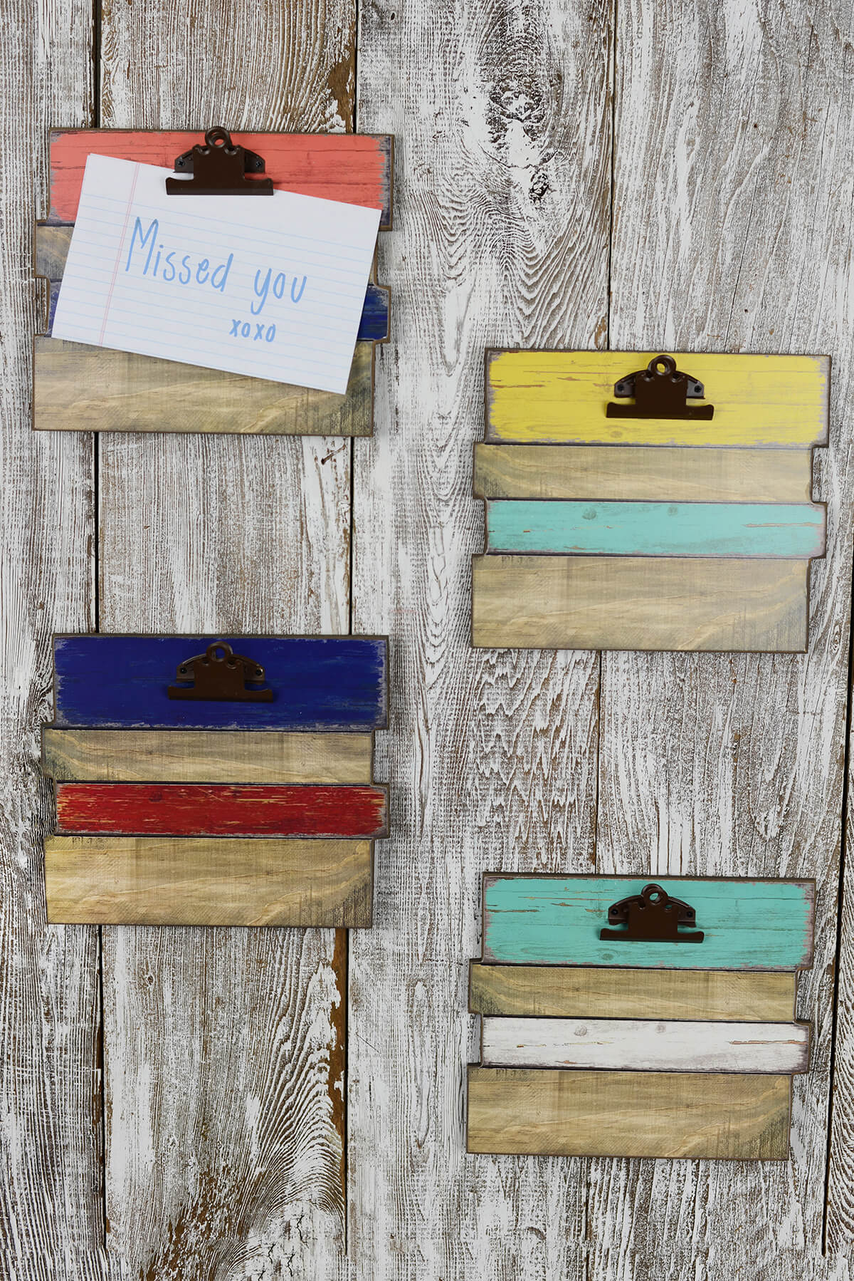 Wood plank clipboards in