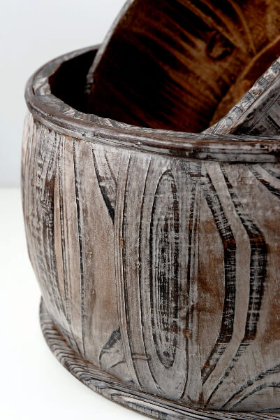 Wood Barrel Pots (set of 2)
