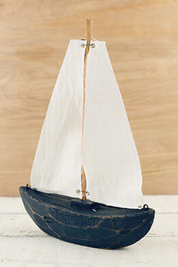 Hand Carved Wood Sailboat  11""