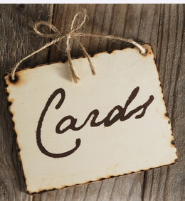 "Wood Sign ""Cards"" with rope tie 5x4"