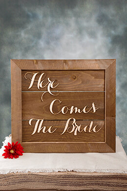 Wood Sign Here Comes The Bride 20x18