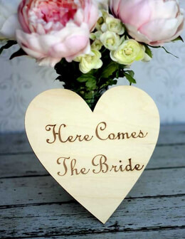 """Here Comes the Bride"" Wood Heart Sign 8in"
