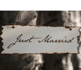 JUST MARRIED Hanging Wood Sign 10 x 3.5