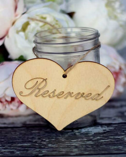 "Wood Heart ""Reserved"" Sign 5in"