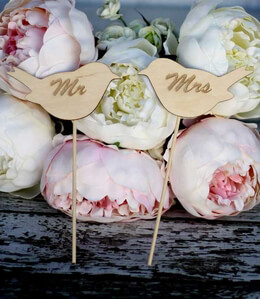 Wood Signs Wedding Cake Toppers Love Birds 'Mr' & ' Mrs'
