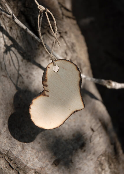 Handmade Wood Heart Hang Tags  Set of 12