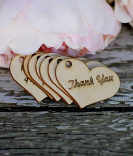 Wood Tags Heart Shaped 2 inch Thank You Hang Tags with Holes (10 tags/pkg)