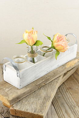 Wood Tray White with Glass Bottles