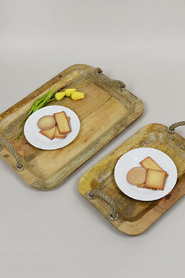 Wood Tray with Handles (Set of 2)