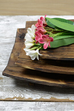"3 Arched Paneled Trays (23"", 19"" and 15"") Natural Wood"
