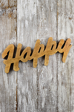 Happy Mango Wood Wall Decor 25""
