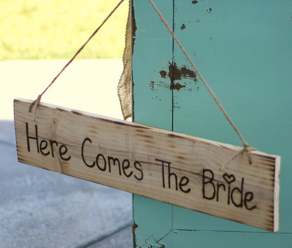 """Here Comes the Bride"" Hanging Wood Sign 24in"