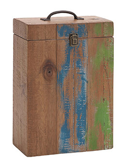 "Box Wood Wine Holder 10"" x 5"" x 15"""