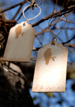 Bird on Branch Wedding Wood HangTags 3in | 12 tags