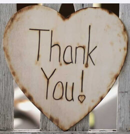 "Wood Wood Heart Thank You Sign Photo Prop 8.75"" x 8.5"""