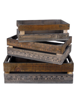 Wood Yardstick Crates (Set of 3)