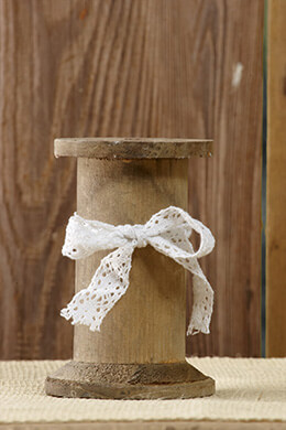 Wooden Spool with White Lace 5in