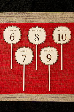 Wooden Table Numbers Fancy 6-10