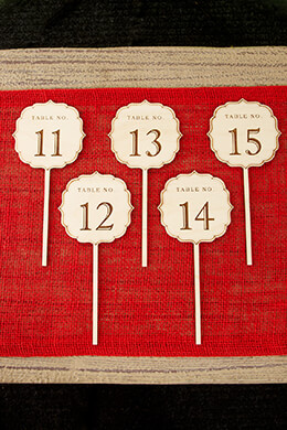 Wooden Table Numbers Fancy 11-15
