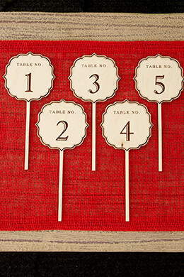 Wooden Table Numbers Fancy 1-5