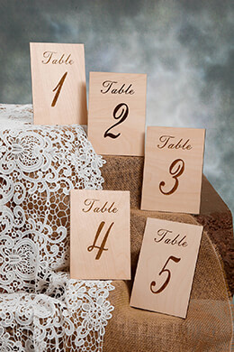 Wooden Table Numbers Freestanding 1-5