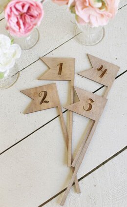 Wooden Table Numbers (1 thru 5) Swallow Tail
