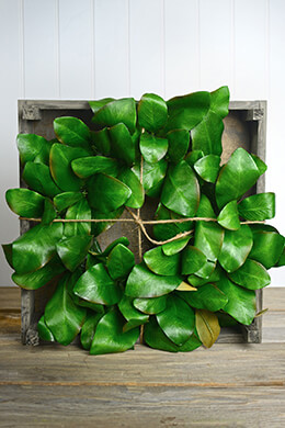 Deluxe Artificial Magnolia Leaf Wreath in Wood Crate 18in