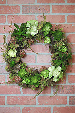 Faux Moss Twigs & Succulent Wreath