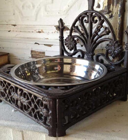 Wrought Iron Buffet and Stainless Dog Dish