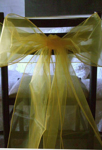 "Yellow Organza Chair Sashes 8"" Wide  (Pack of 10)"