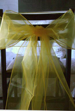 """10 Yellow Organza Chair Sashes 8"""" Wide"""