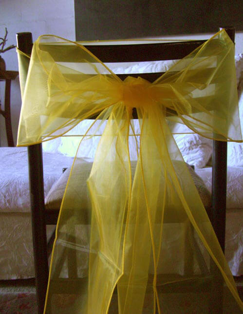 Organza Chair Bows in Yellow (Pack of 10)