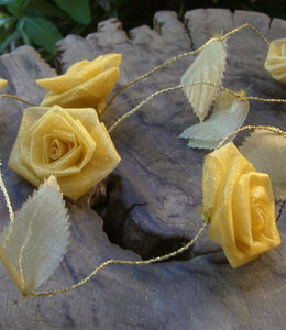 Yellow Rolled Ribbon Rose Garland   9ft