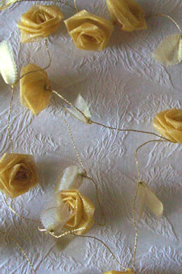 Yellow & Gold Rolled Ribbon Rose Garland   9ft