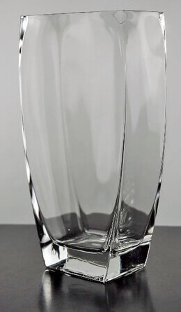 Clear Glass 10in Tapered Rectangle Floral Vase