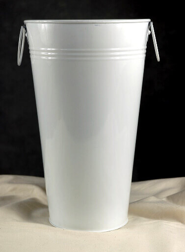 11 Quot White Flower Market Buckets With Handles
