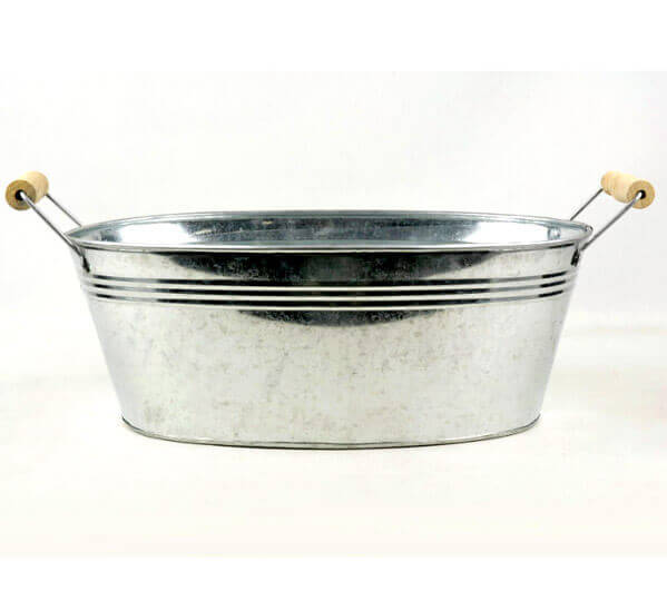 Galvanized Oval Tub with Handles 13in