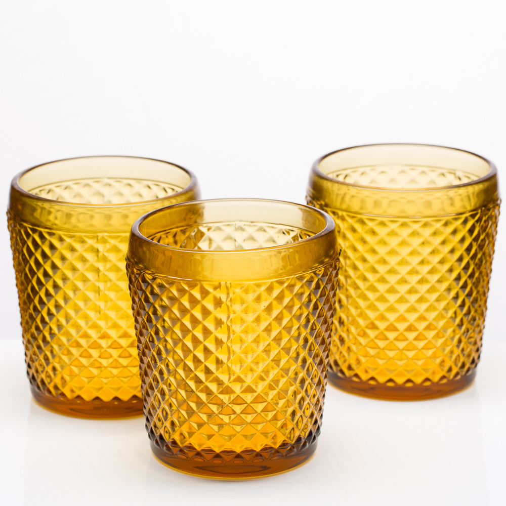Richland Diamond Candle Holder Amber Set of 6