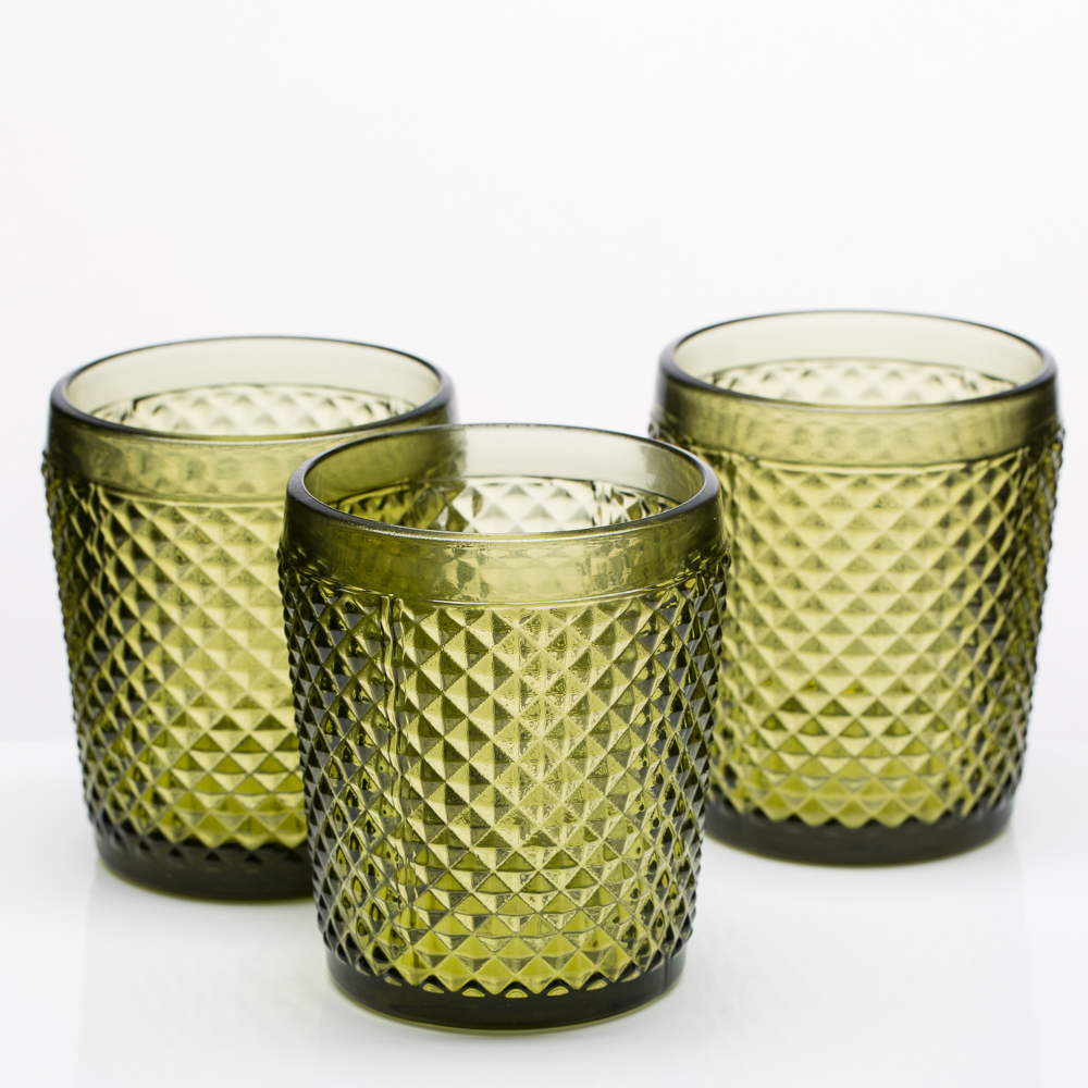 Richland Diamond Candle Holder Dark Green Set of 6
