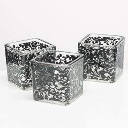 Richland Votive Holder Black Lace Design Set of 12