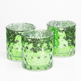Richland Votive Holder Green Pinched Glass Set of 6