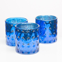 Richland Votive Holder Blue Pinched Glass Set of 6