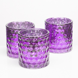 Richland Votive Holders Honeycomb Purple Mercury Glass Set of 6