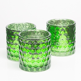 Richland Votive Holders Honeycomb Green Mercury Glass Set of 6
