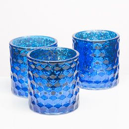Richland Votive Holders Honeycomb Blue Mercury Glass Set of 6